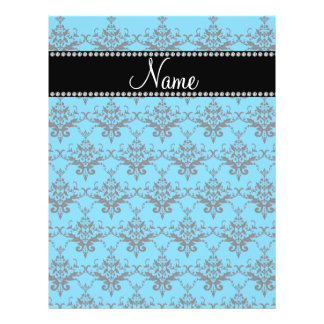 Personalized name Blue black damask Full Color Flyer