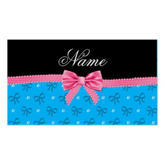 Personalized name blue bows diamonds with bow business card templates