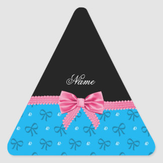 Personalized name blue bows diamonds with bow triangle stickers