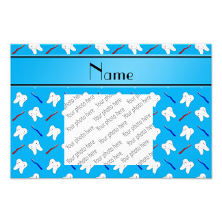 Personalized name blue brushes and tooth pattern photographic print