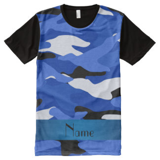 Personalized name blue camouflage blue stripe All-Over print T-Shirt
