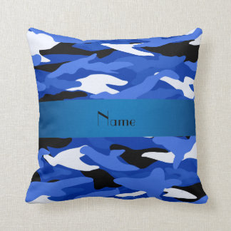 Personalized name blue camouflage cushion