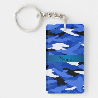 Personalized name blue camouflage Double-Sided rectangular acrylic key ring