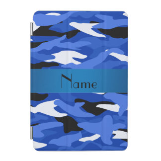 Personalized name blue camouflage iPad mini cover
