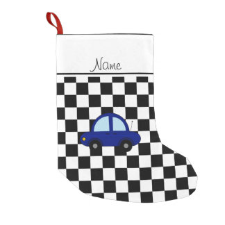 Personalized name blue car black white checkers small christmas stocking