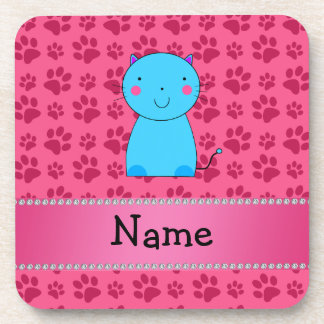 Personalized name blue cat pink paws beverage coasters