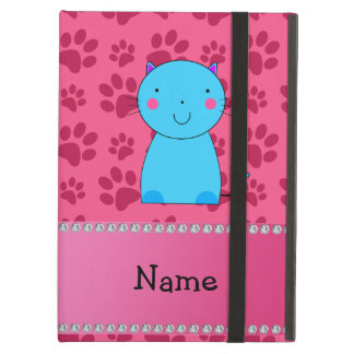 Personalized name blue cat pink paws case for iPad air