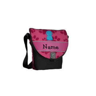 Personalized name blue cat pink paws messenger bags