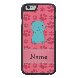 Personalized name blue cat pink paws carved® maple iPhone 6 slim case