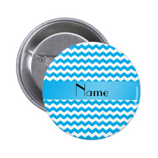 Personalized name blue chevrons 6 cm round badge