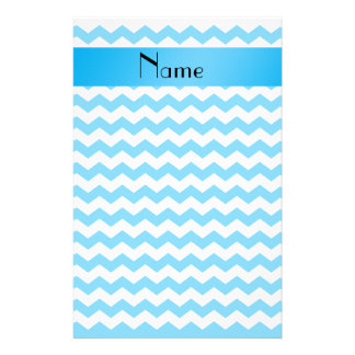 Personalized name blue chevrons customized stationery