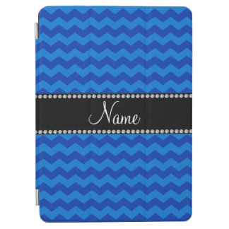 Personalized name blue chevrons iPad air cover