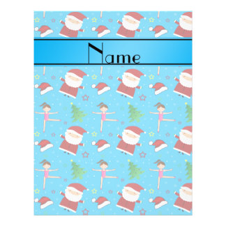 Personalized name blue christmas gymnastics santas full color flyer