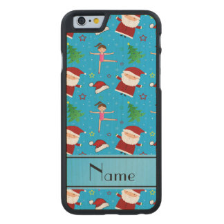 Personalized name blue christmas gymnastics santas carved® maple iPhone 6 slim case