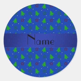 Personalized name blue christmas stars pattern sticker