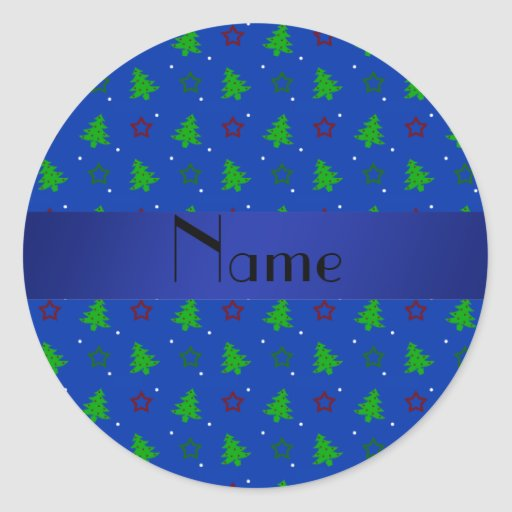 Personalized name blue christmas stars pattern sticker