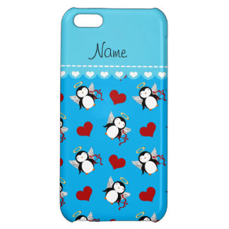 Personalized name blue cupid penguins red hearts case for iPhone 5C