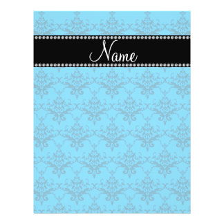 Personalized name Blue damask Full Color Flyer