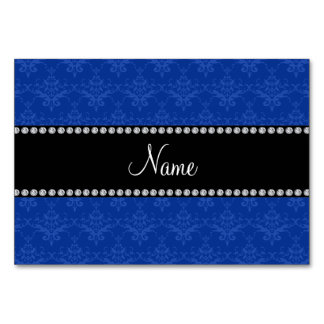 Personalized name Blue damask Table Cards