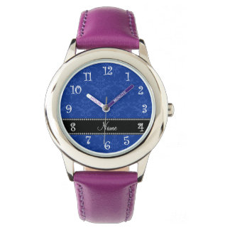Personalized name Blue damask Wrist Watches