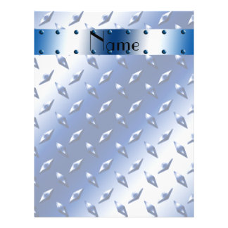 Personalized name blue diamond plate steel flyer