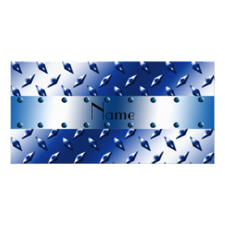 Personalized name blue diamond plate steel picture card
