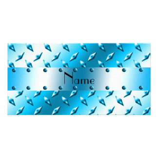 Personalized name blue diamond plate steel photo card