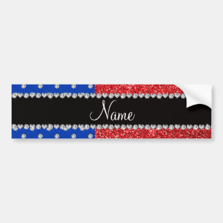Personalized name blue diamonds red glitter bumper stickers