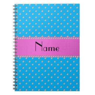 Personalized name blue diamonds spiral note books