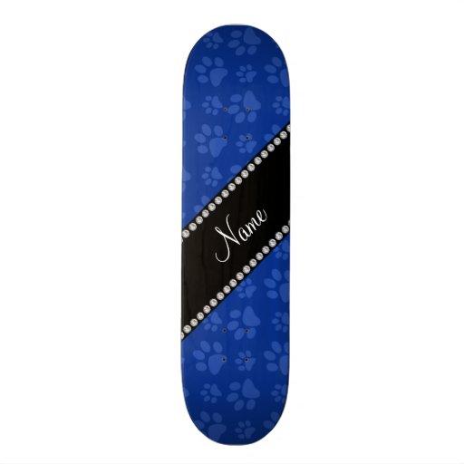 Personalized name blue dog paw print custom skate board