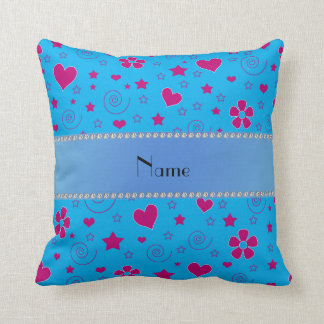 Personalized name blue flowers hearts stars swirls cushion