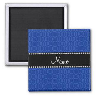 Personalized name blue geometric diamonds pattern fridge magnets