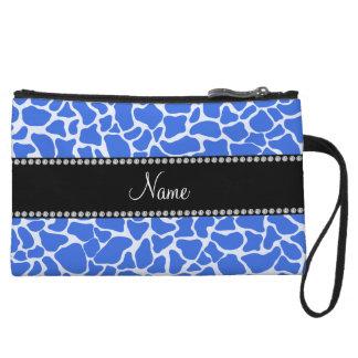 Personalized name blue giraffe pattern wristlet