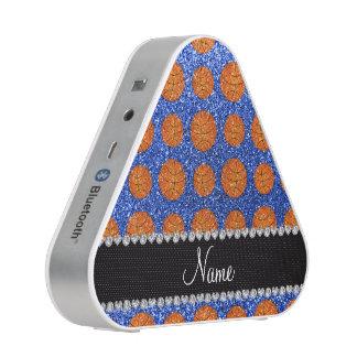 Personalized name blue glitter basketballs bluetooth speaker