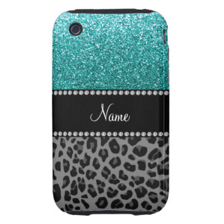 Personalized name blue glitter black leopard iPhone 3 tough cases