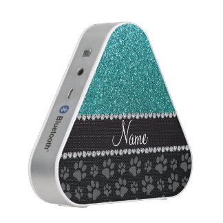 Personalized name blue glitter black paws