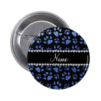 Personalized name blue glitter cat paws 6 cm round badge