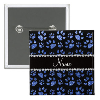 Personalized name blue glitter cat paws 15 cm square badge
