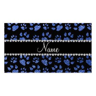 Personalized name blue glitter cat paws business cards