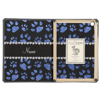 Personalized name blue glitter cat paws cover for iPad air