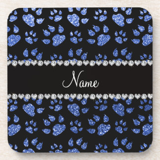 Personalized name blue glitter cat paws coasters