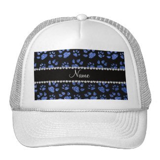 Personalized name blue glitter cat paws mesh hats