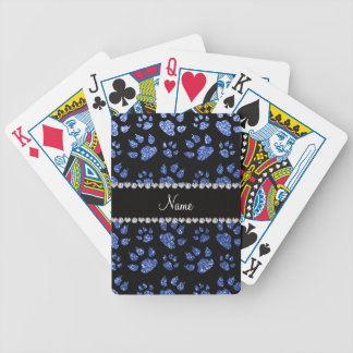 Personalized name blue glitter cat paws poker deck