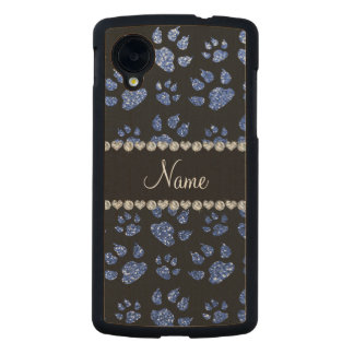 Personalized name blue glitter cat paws carved® maple nexus 5 slim case