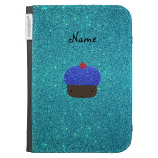Personalized name blue glitter cupcake kindle covers