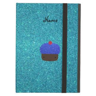Personalized name blue glitter cupcake iPad folio case