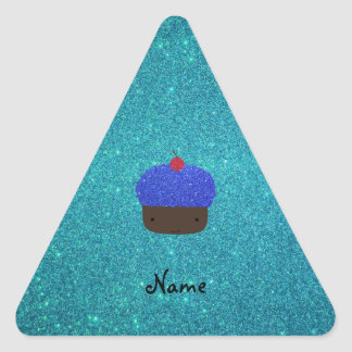 Personalized name blue glitter cupcake stickers