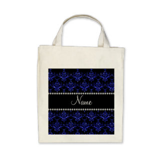 Personalized name blue glitter damask tote bags