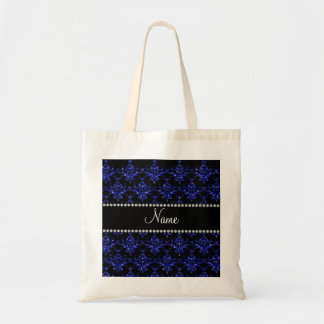 Personalized name blue glitter damask tote bag