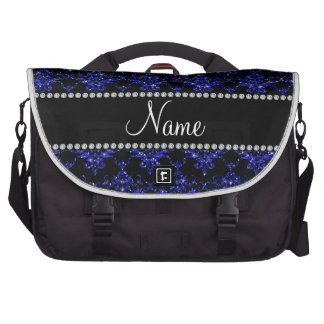 Personalized name blue glitter damask bags for laptop